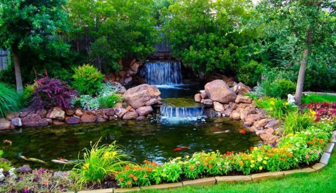 Water fall and beautiful landscaping