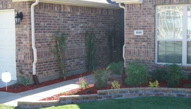 Landscaping accenting the front of a home