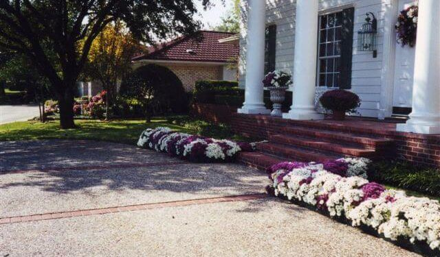Beautiful flowers accenting front porch