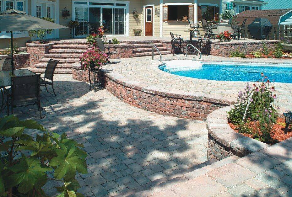 Beautiful brick patio surrounding a pool