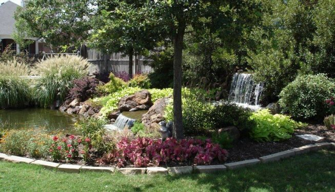 Water feature surrounded by shrubs and tree