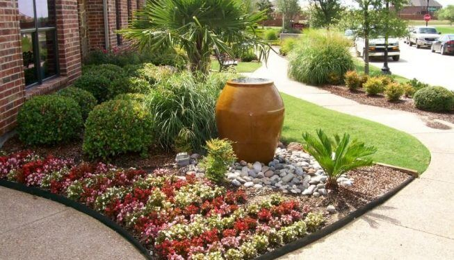Beautiful water feature in clay vase