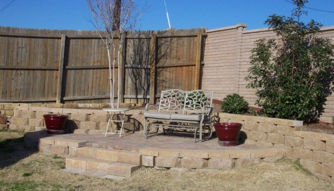 Retaining wall leading to small bench
