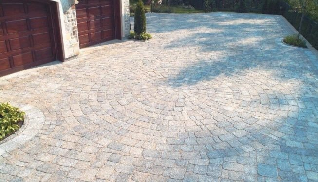 Brick patio with circular design