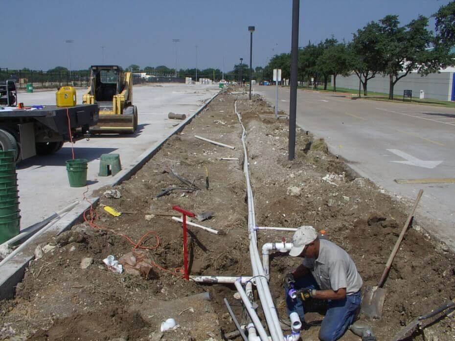 Installing pipes for irrigation system